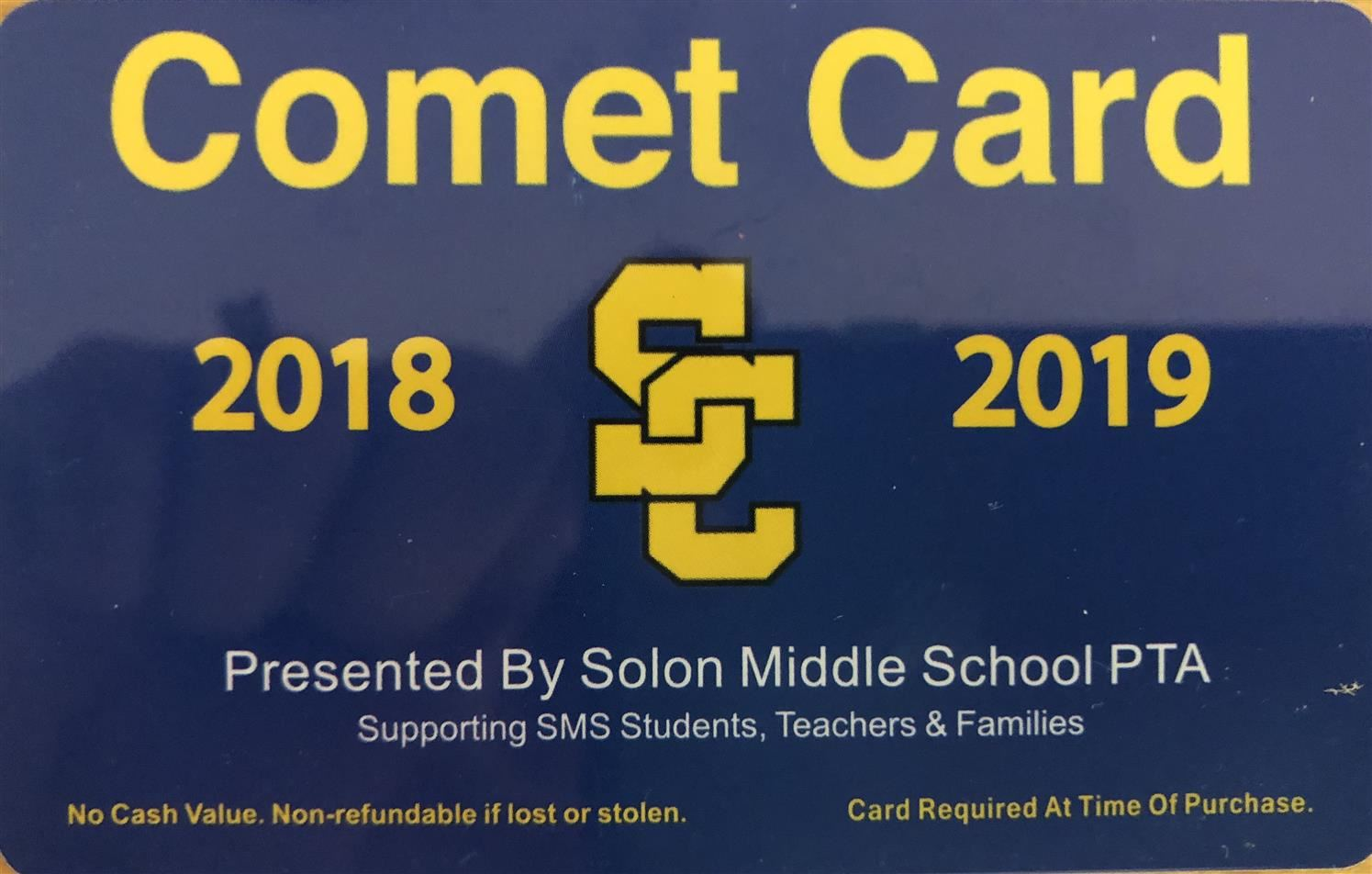 Front of the 2018-19 Comet Card - yellow text on blue background
