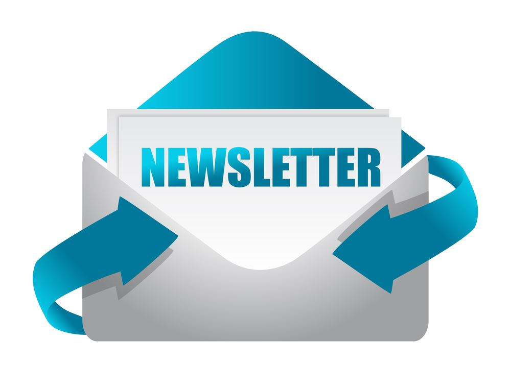 White envelope with blue letters spelling NEWSLETTER