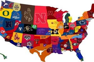 Colorful US map with a different college logo in each state