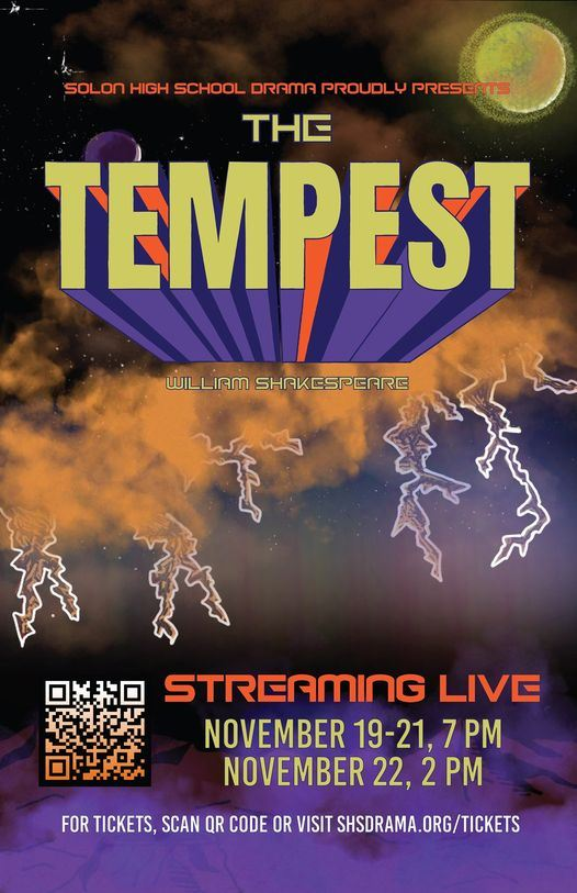 The Tempest poster Nov 19-21 7pm Nov 22 2 pm live stream