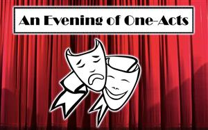 Drama masks - an evening of one acts on a red curtain background