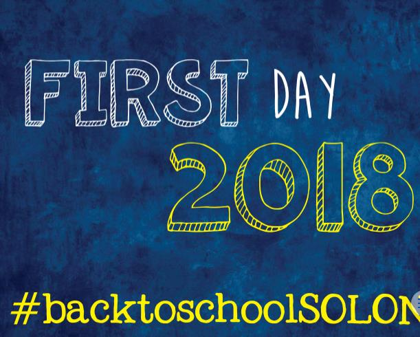 First Day 2018 Sign White and Yellow on Blue background