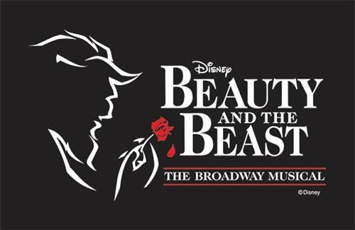 Black background white outline of beast with red rose Beauty and the Beast