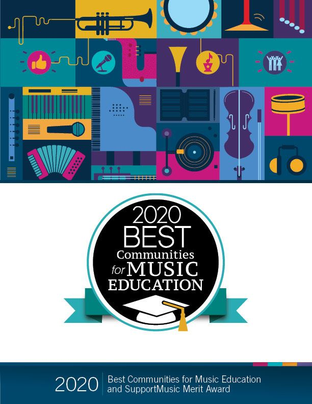 Best Communities for Music Education Award poster for 2020 with colorful instrument pattern