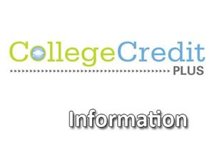 College Credit Plus Information in blue and green text