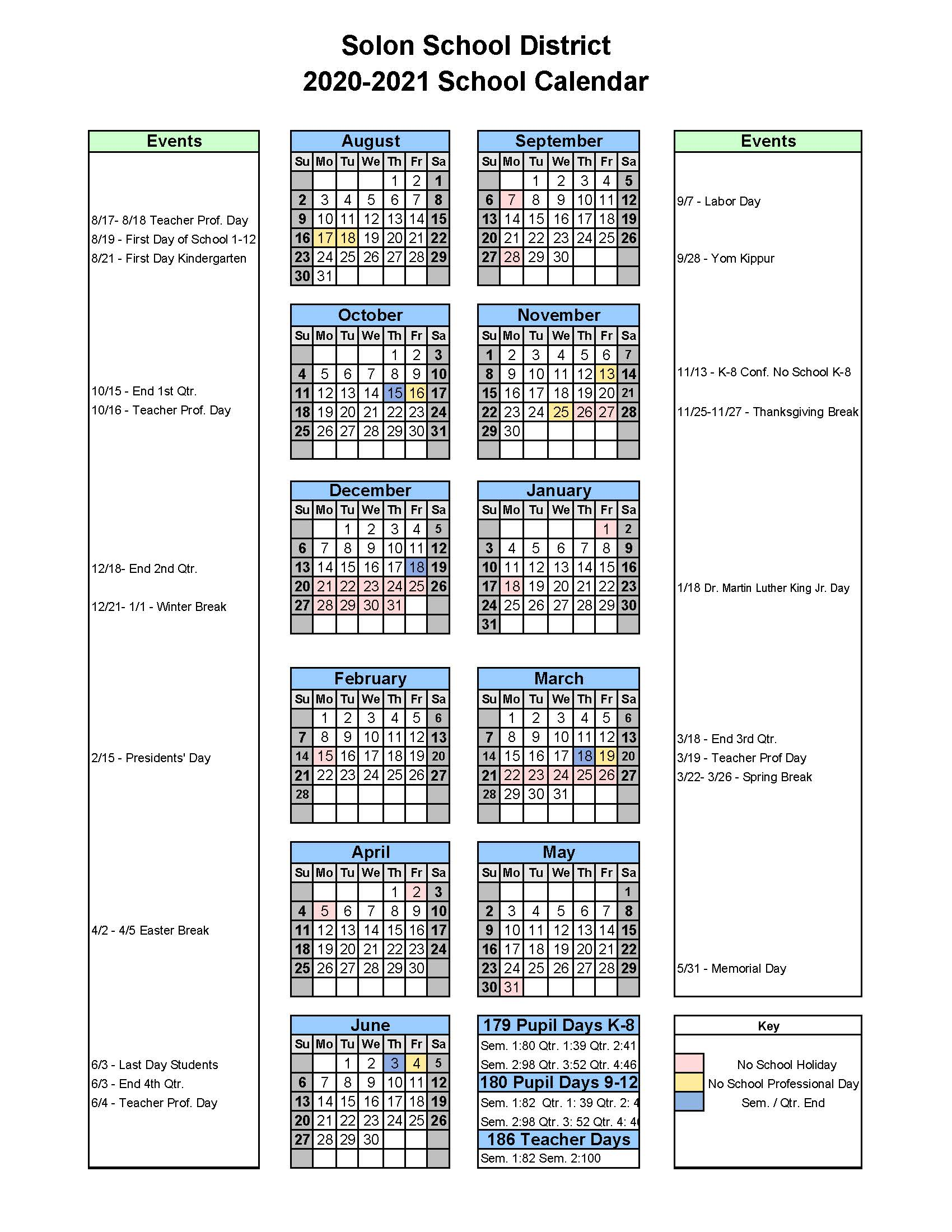 Entire year calendar grid for 2020-21 for the Solon Schools