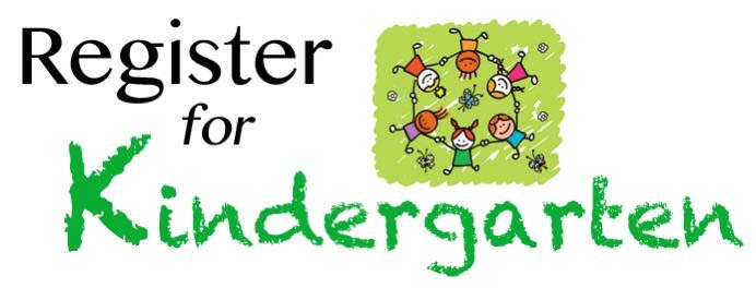 Register for Kindergarten with students holding hands in a circle on a green background