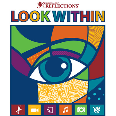 Logo for 2019-20 PTA Reflections Art Contest Look Within - closeup of an eye on a multi-colored pat