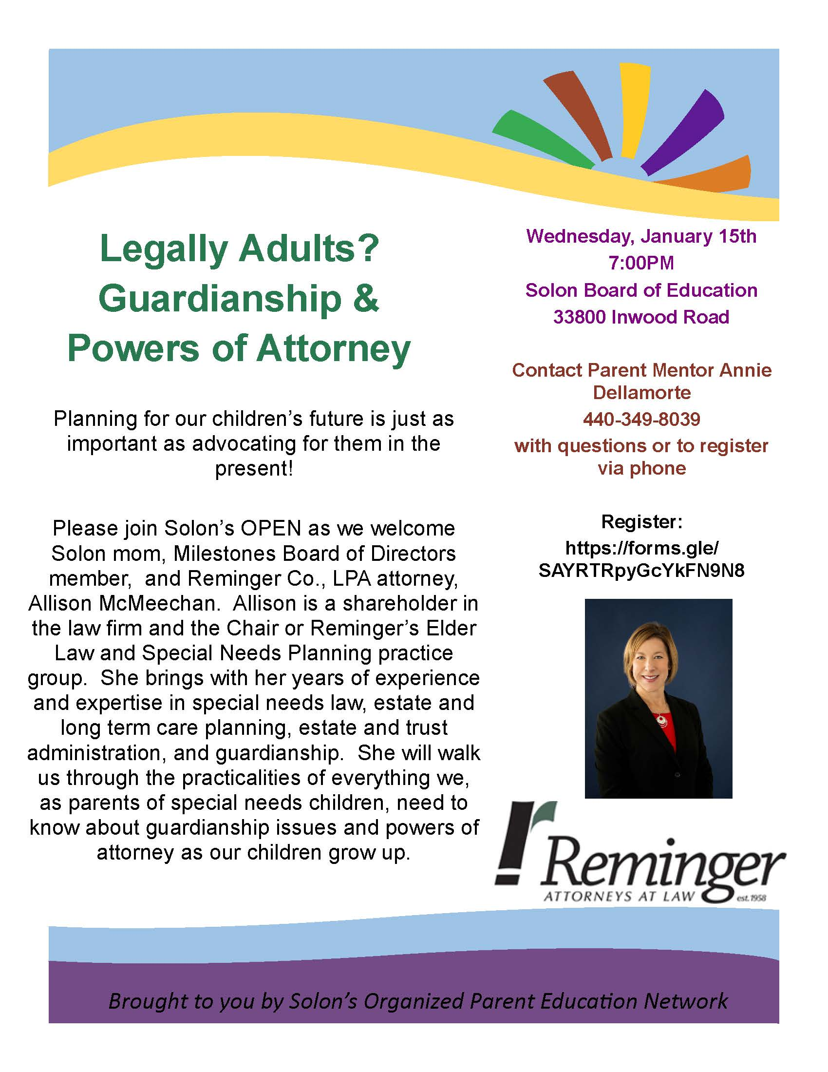 Flier for January 15 OPEN program on guardianship and powers of attorney for families of students with special needs