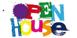 The words Open House with paint splatter letters