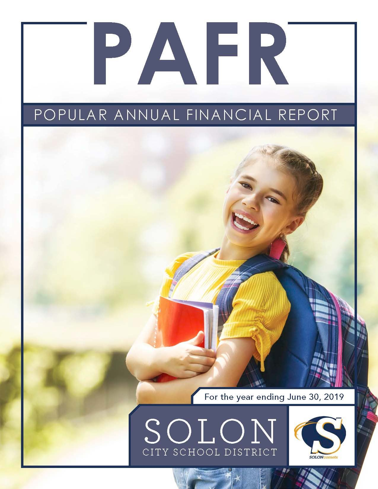 Cover of Popular Annual Financial Report FY 2019 - Smiling girl holding books
