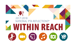 Logo for the 2017-18 PTA Reflections Art Contest - includes icons for visual arts, film, literature