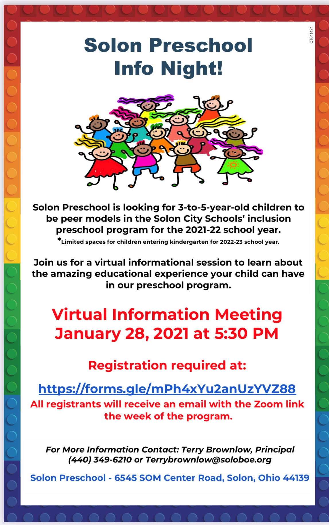 Solon Preschool Info Night January 28 5:30 pm with graphic of preschool kids and colorful lego brick outline