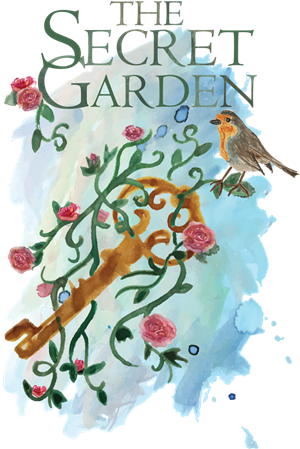 Logo for The Secret Garden birds and flowers on a trellis