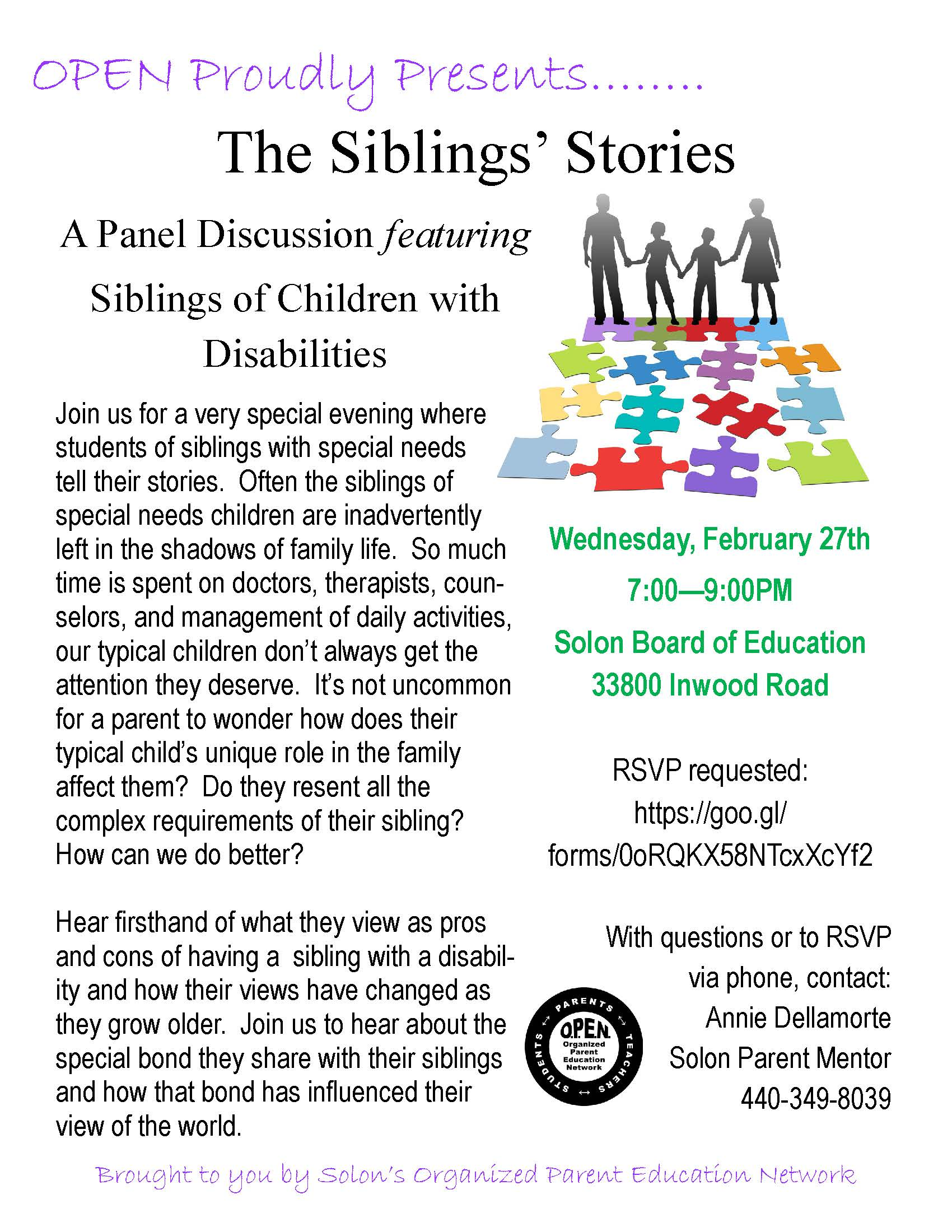 Flier for February 27 OPEN Program on Sibling Stories at 7 pm in the Board of Education Conference Room