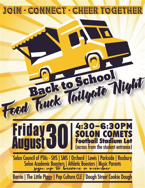 Back to School Food Truck Tailgate Night invitation for Friday August 30 4:30-6:30 behind the home stands at SHS stadium