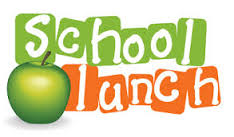 School Lunch in orange and green with green apple