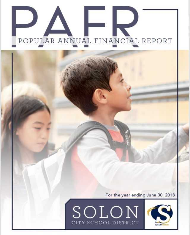 Boy and Girl getting on a school bus  - cover of the Solon Popular Annual Financial Report