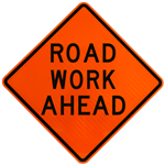 Road work ahead - black type on orange diamond shaped sign