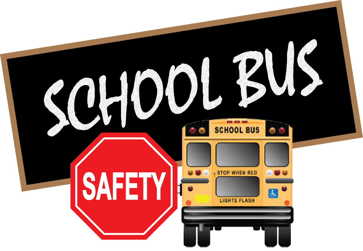 School Bus written on blackboard with back of bus and stop sign with the word safety written on it