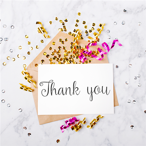 Thank you card with clear gold and pink confetti and curly ribbon