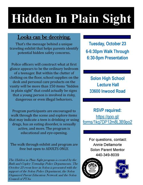 Hidden In Plain Site October 23 Educational Program at 6 pm in the Solon High School Lecture Hall