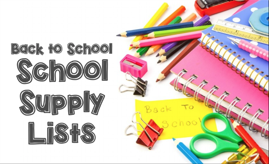 Back to School Supply Lists with graphics of pencils, paper, glue, scissors and other supplies