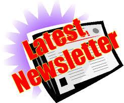 Latest Newsletter with newspaper - red text with purple background