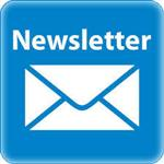 White envelope on blue background with the word newsletter