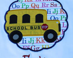 School bus on a background with letters