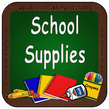 School Supplies with crayons, glue, sprial notebooks and pencils