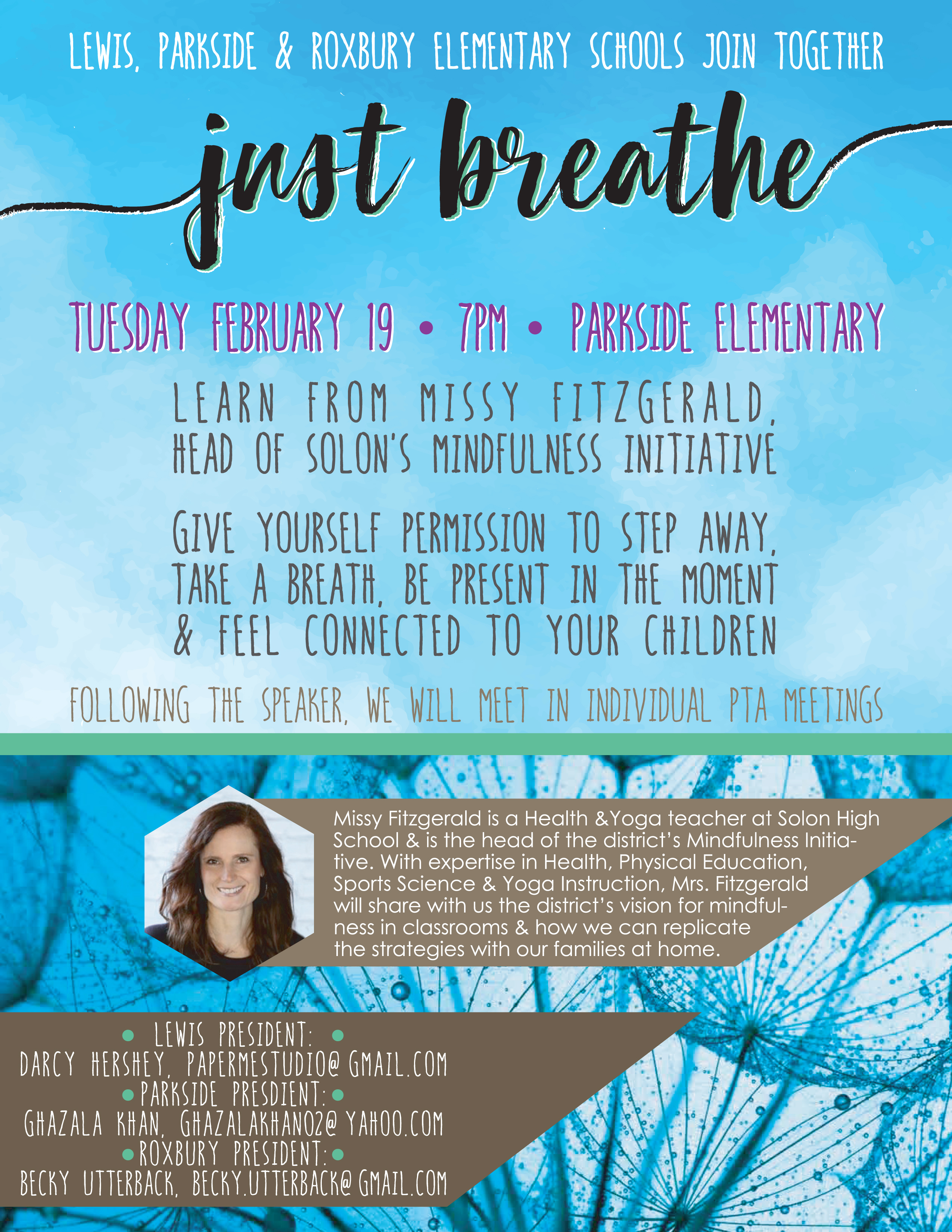 Flier for the upcoming Mindfulness Presentation on February 19 at 7 pm at Parkside Elementary School
