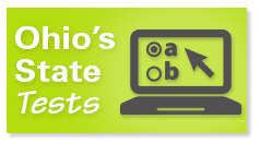 Ohio's State Tests in white text against bright green background. Text on a graphic of a computer