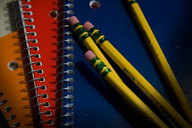 School supplies - pencils on sprial notebooks