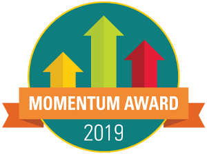 2019 Momentum Award on green background with red yellow and green upward arrows